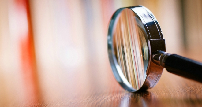 magnifying glass review report scrutiny look investigation