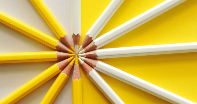 yellow pencils working together partnership join