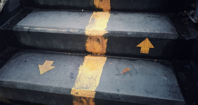 up down climb drop decline raise stairs